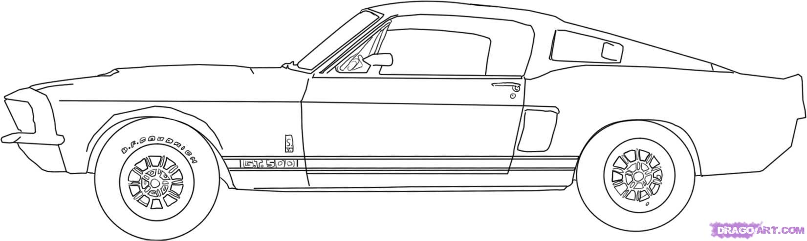 Рисуем автомобиль Shelby Mustang GT500 1967 года