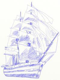 большой парусный корабль ручкой или карандашом