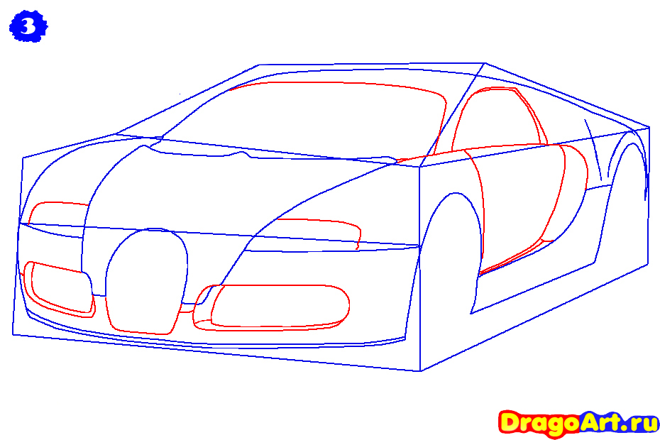 Рисуем машину бугатти - шаг 3