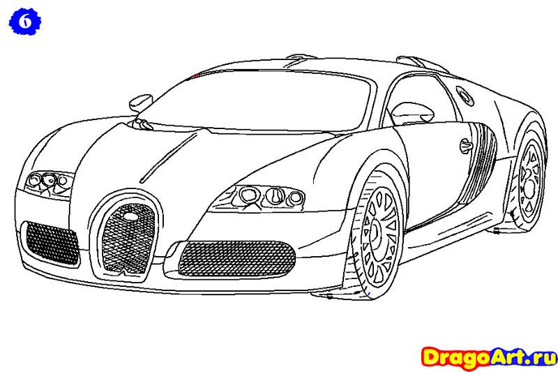 Рисуем машину бугатти - фото 6