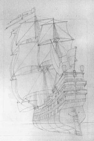 Рисуем корабль Галеон