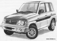 Как нарисовать машину Mitsubishi Pajero Pinin карандашом поэтапно