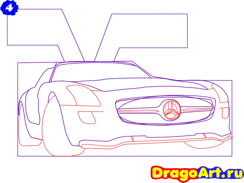 Рисуем Mercedes SLS AMG - шаг 4