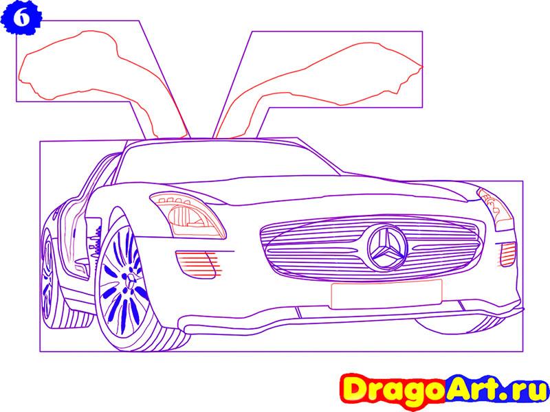 Рисуем Mercedes SLS AMG - шаг 6