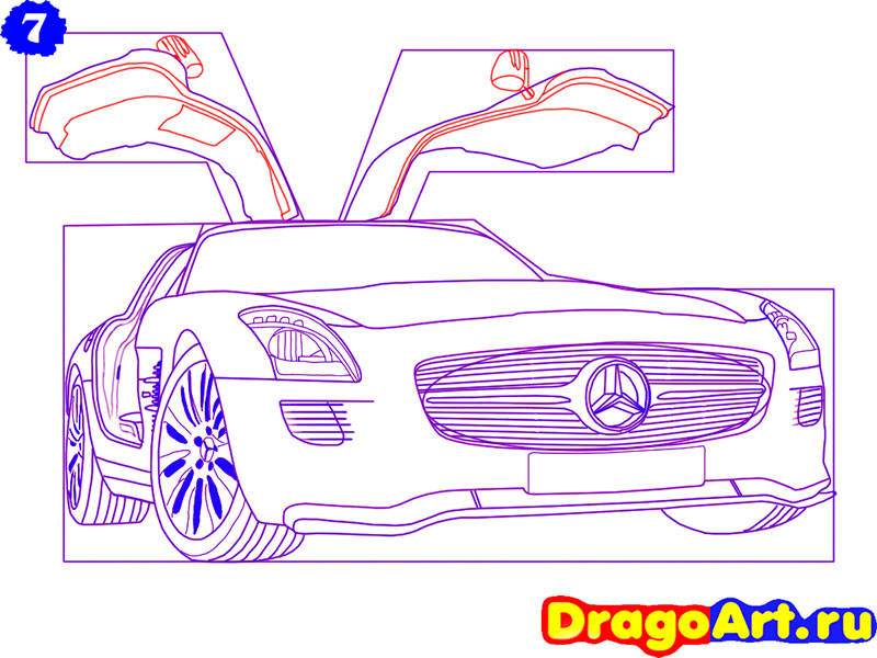 Рисуем Mercedes SLS AMG - шаг 7