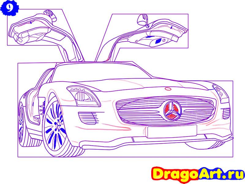 Рисуем Mercedes SLS AMG - шаг 9