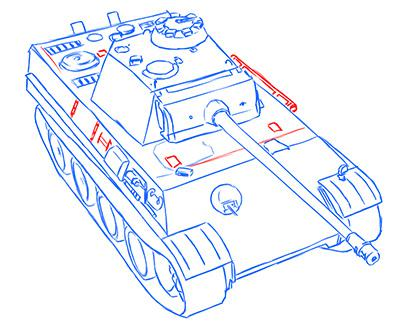 Как нарисовать немецкий средний танк Пантера карандашом