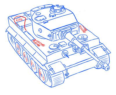 Рисуем немецкий тяжелый танк Тигр из World of Tanks - фото 13