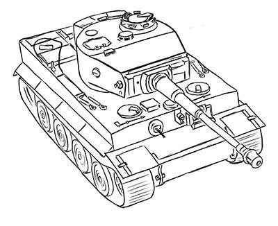 Рисуем немецкий тяжелый танк Тигр из World of Tanks - фото 14