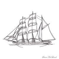 парусное судно Бригантина карандашом