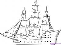 пиратский корабль карандашом