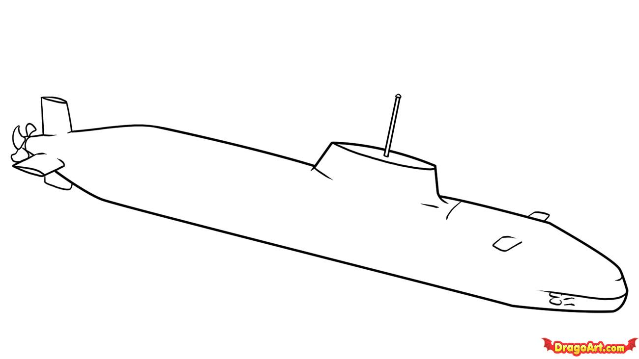 шаг за шагом как рисовать подводную лодку