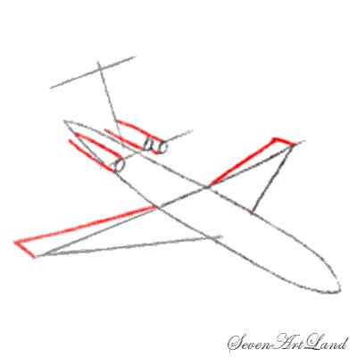 Рисуем самолет Боинг 727 - шаг 3