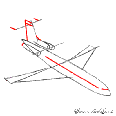 Рисуем самолет Боинг 727 - шаг 4
