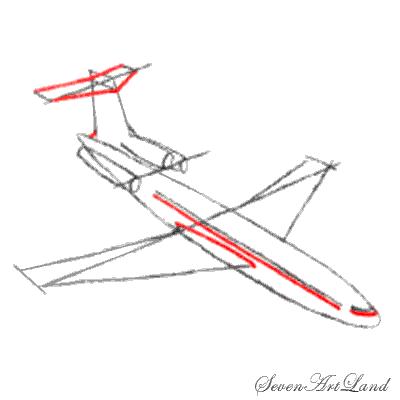 Рисуем самолет Боинг 727 - шаг 5