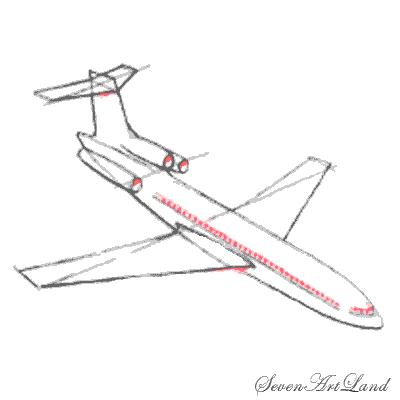 Рисуем самолет Боинг 727 - шаг 6
