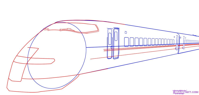 Рисуем скоростной поезд - шаг 5