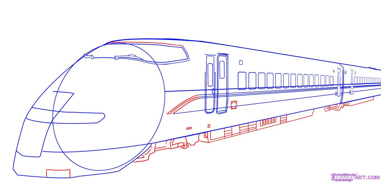 Рисуем скоростной поезд - шаг 6