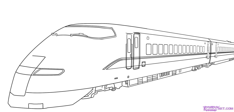 Как нарисовать скоростной поезд карандашом поэтапно
