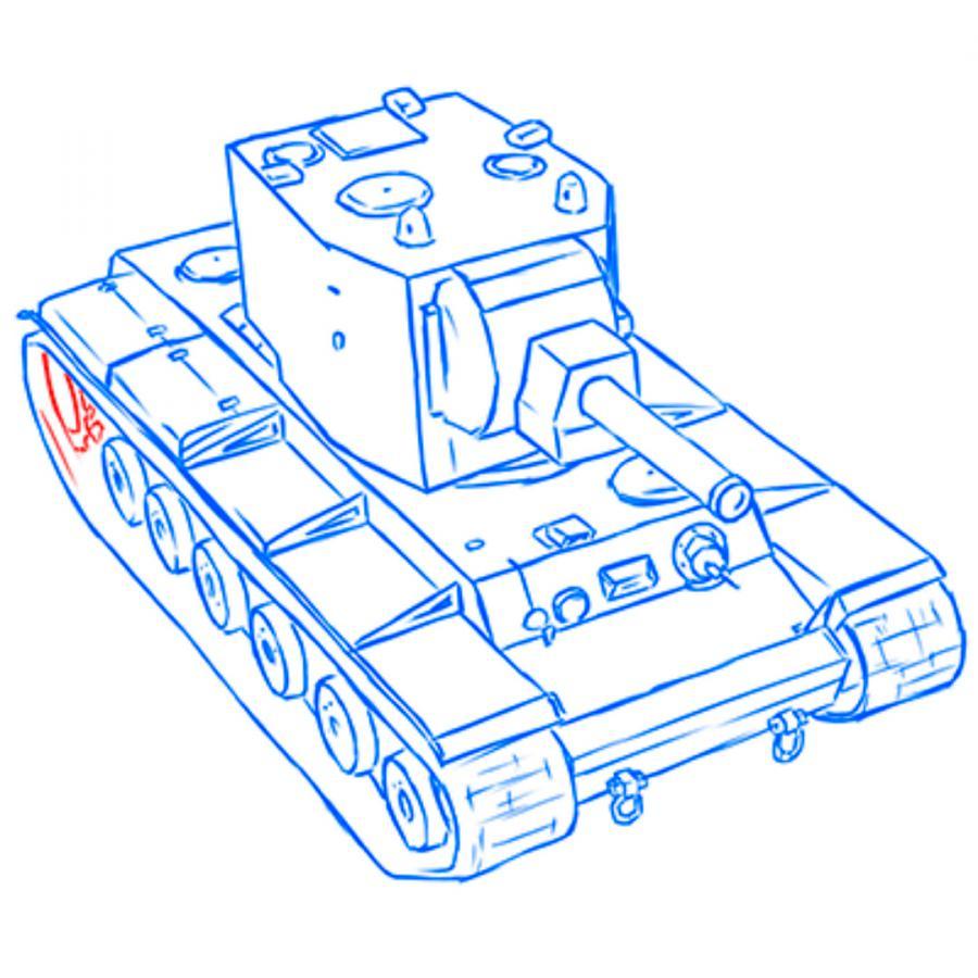 Рисуем советский тяжёлый танк КВ-2