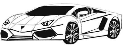 Рисуем спортивную машину на бумаге