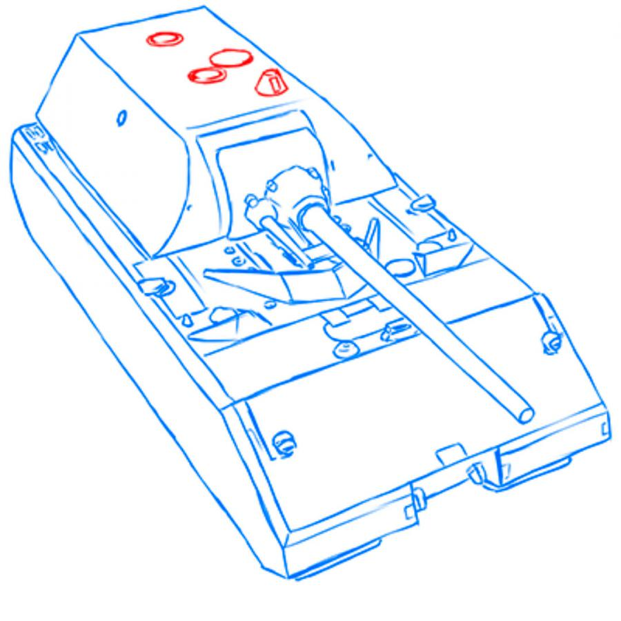Рисуем сверхтяжёлый танк Маус простым