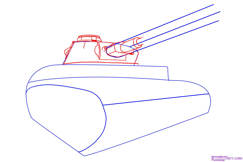 Рисуем танк тигр  для начинающих - шаг 2