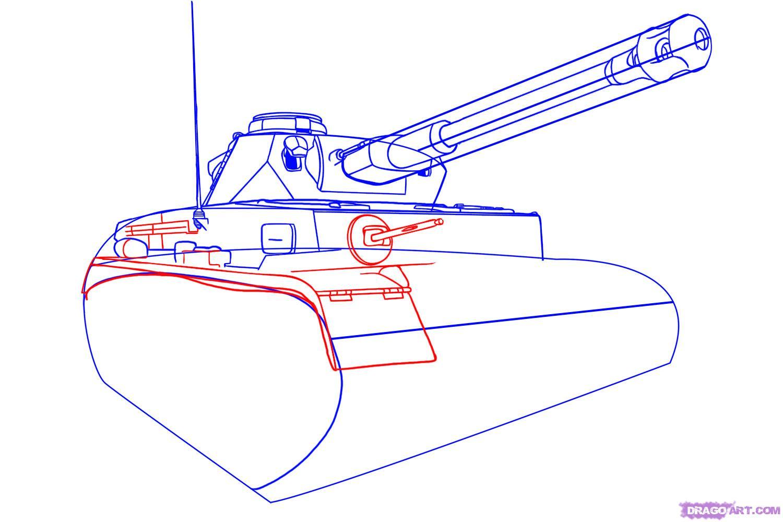 Рисуем танк тигр  для начинающих - шаг 4