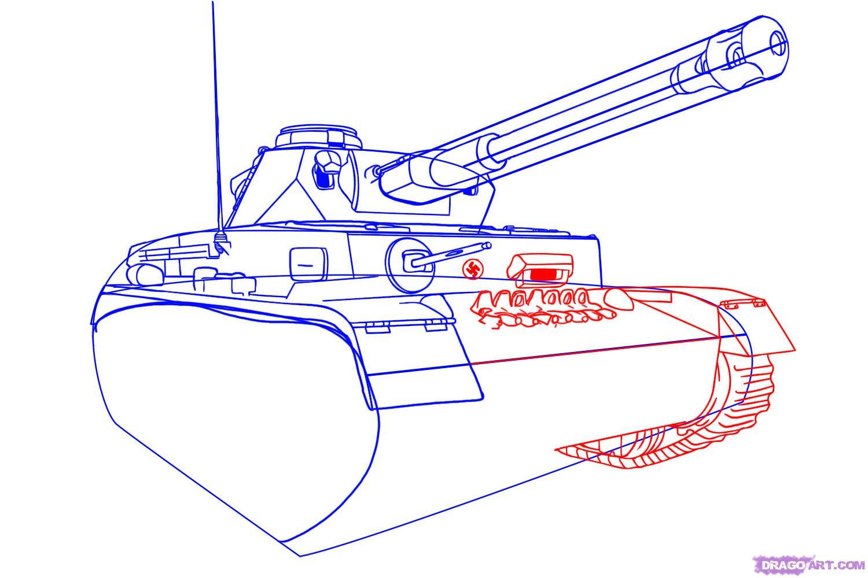 Рисуем танк тигр  для начинающих - шаг 5