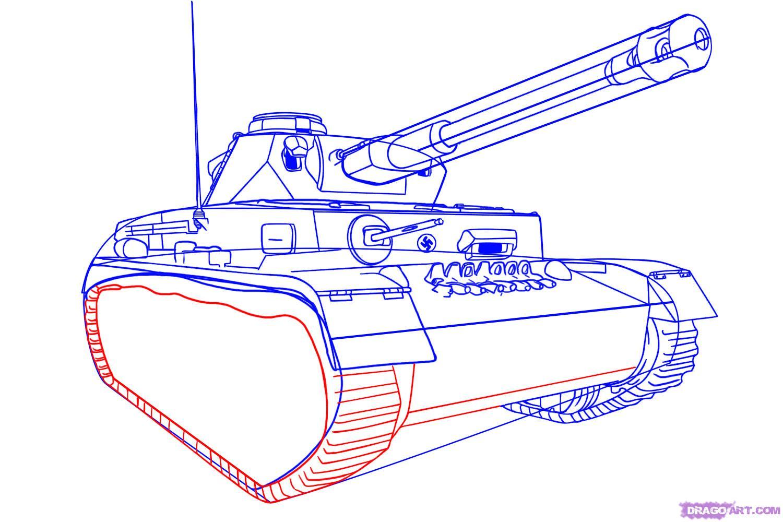 Рисуем танк тигр  для начинающих - шаг 6