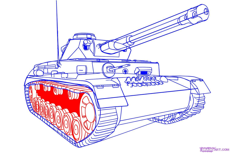 Рисуем танк тигр  для начинающих - шаг 7