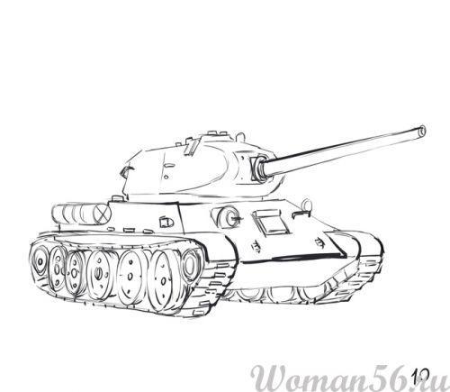 Рисуем танк Т-34  (подробный урок) - фото 10