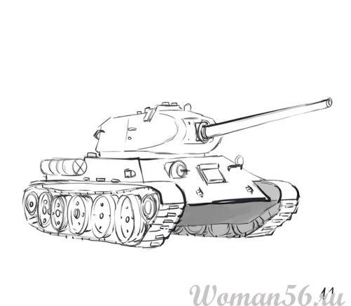 Рисуем танк Т-34  (подробный урок) - фото 11