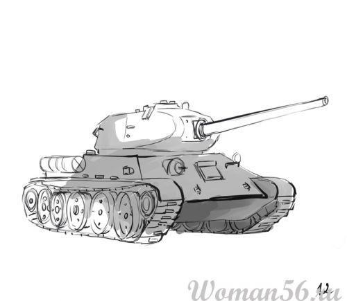 Рисуем танк Т-34  (подробный урок) - фото 12