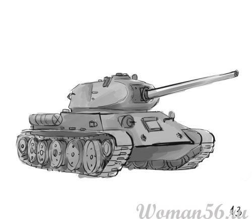 Рисуем танк Т-34  (подробный урок) - фото 13