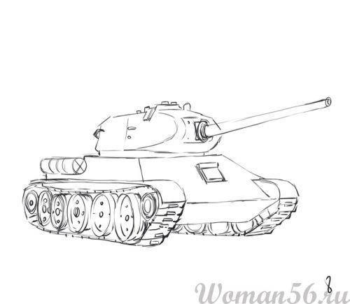 Рисуем танк Т-34  (подробный урок) - фото 8