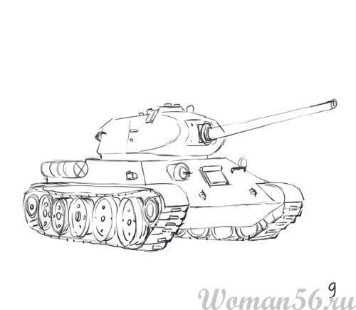 Рисуем танк Т-34  (подробный урок) - фото 9