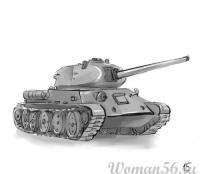 Фото танк Т-34  на бумаге карандашом