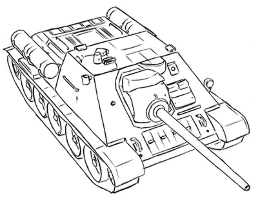Рисуем танк СУ-85