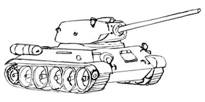 Учимся рисовать танк Т-34 и Т-34-85 - фото 6