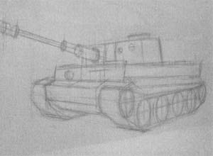 Рисуем танк Тигр - шаг 2