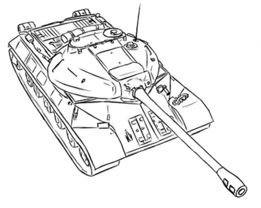 Как нарисовать тяжёлый танк ИС-3 простым карандашом поэтапно