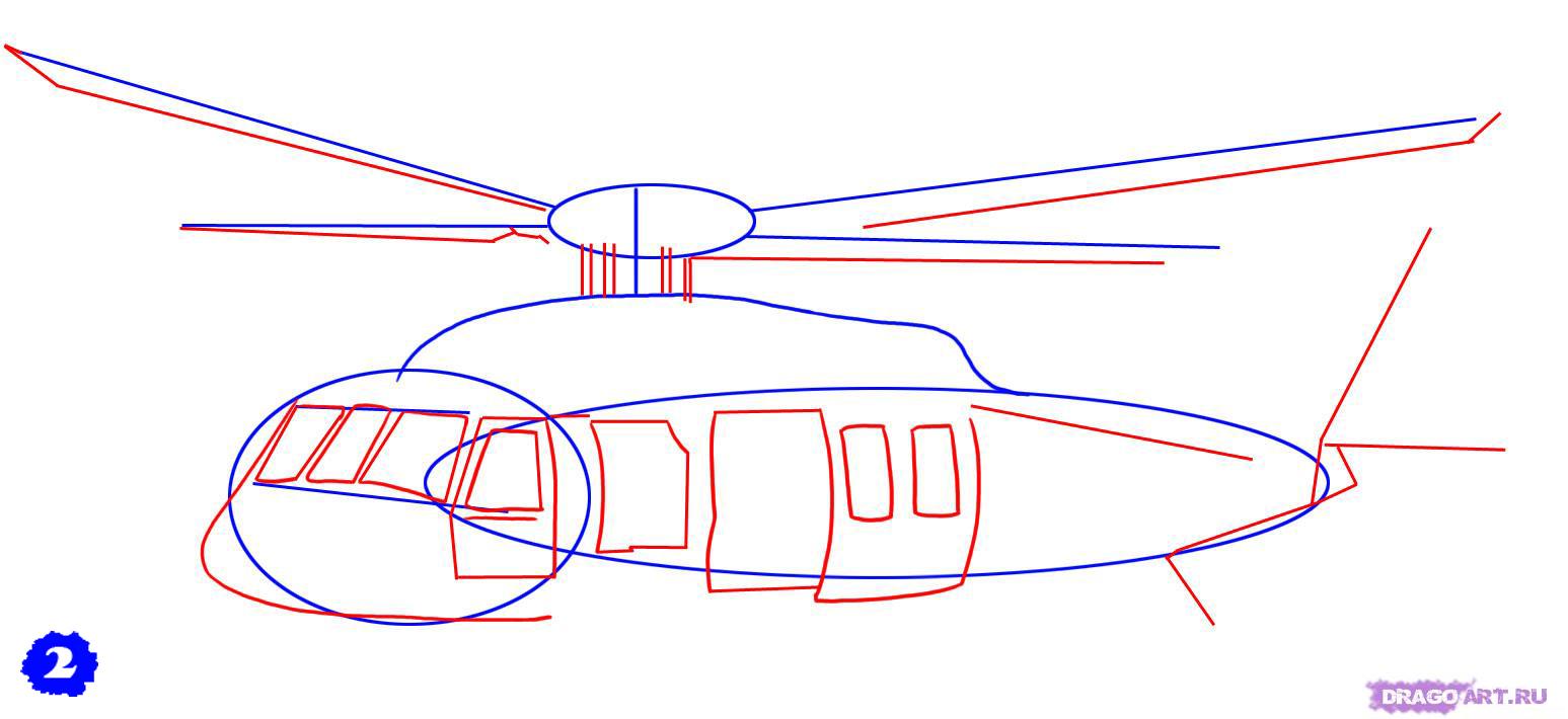 Рисуем военный вертолет AH - 1 Cobra - шаг 2