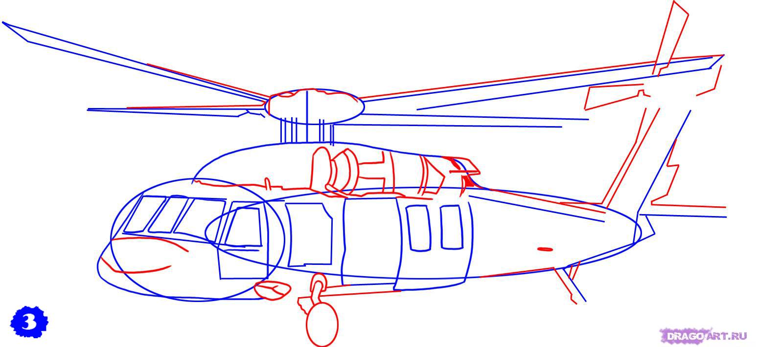 Рисуем военный вертолет AH - 1 Cobra - шаг 3