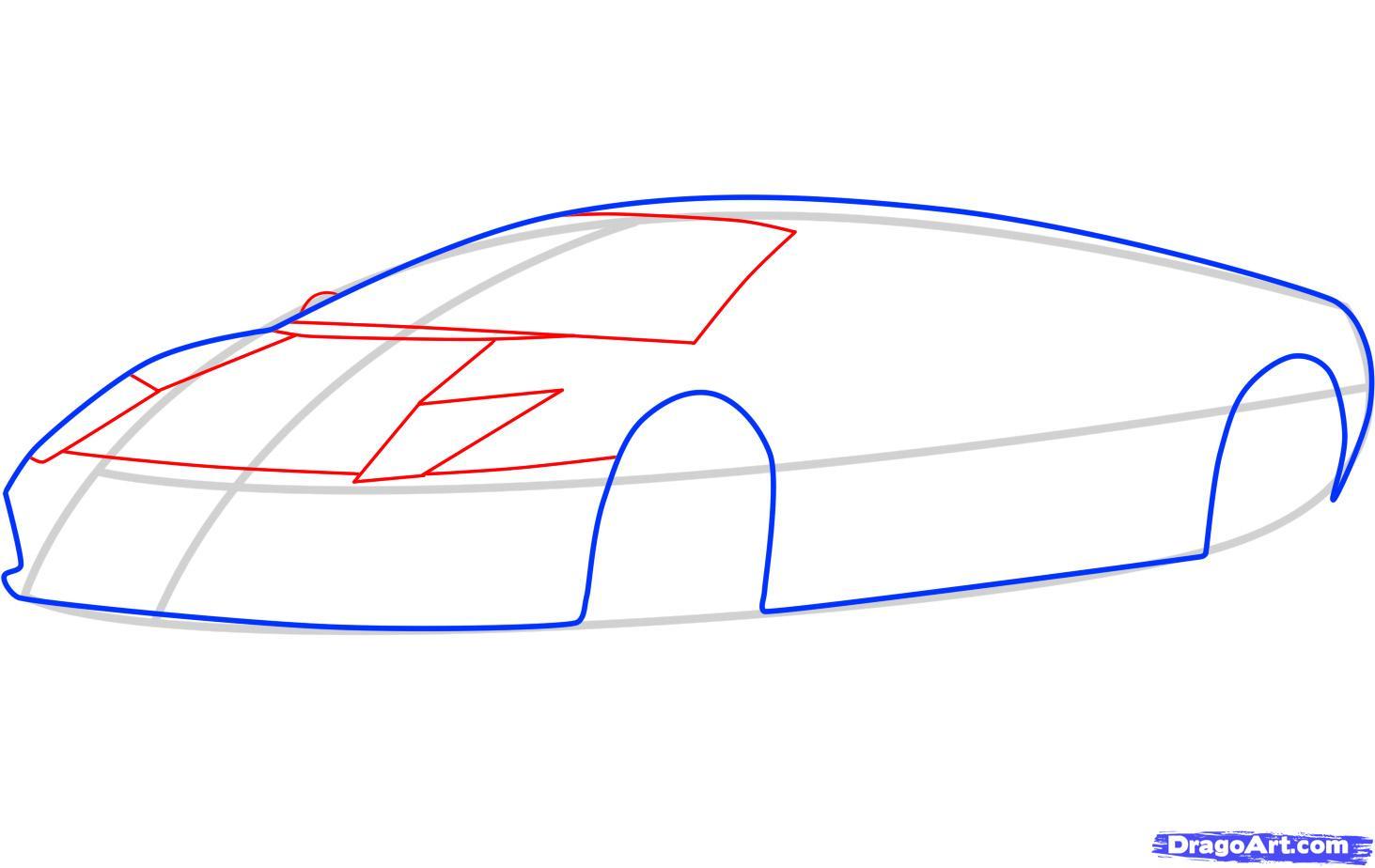 как нарисовать перед ламборджини мурсилаго