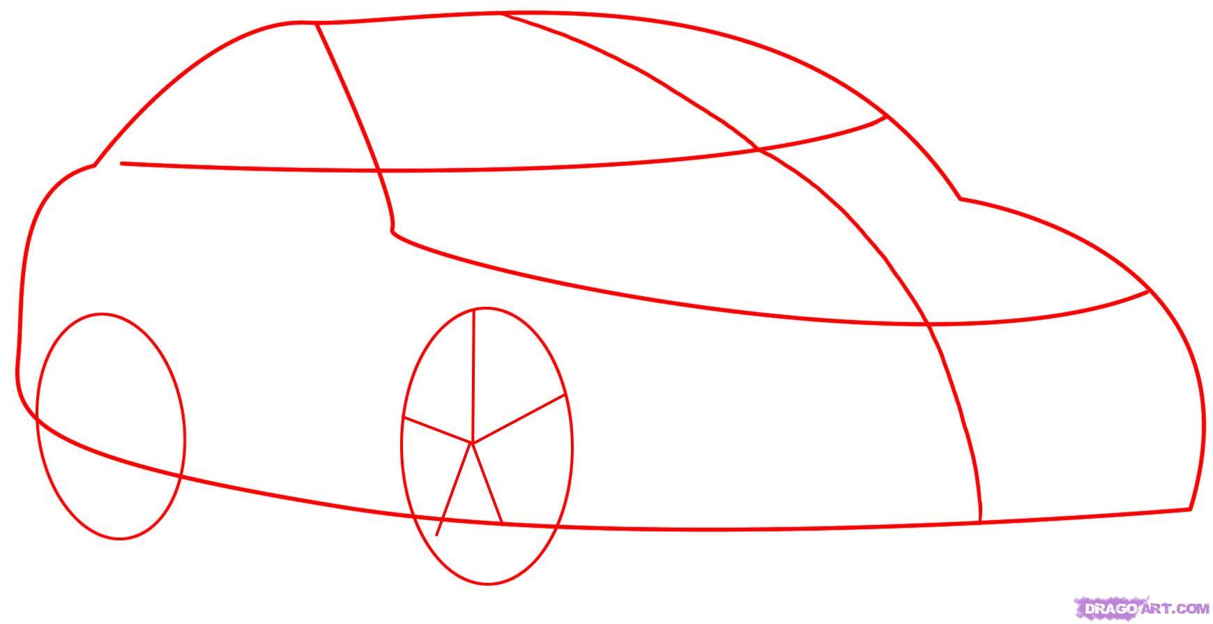 Рисуем автомобиль Mercedes-Benz - шаг 1