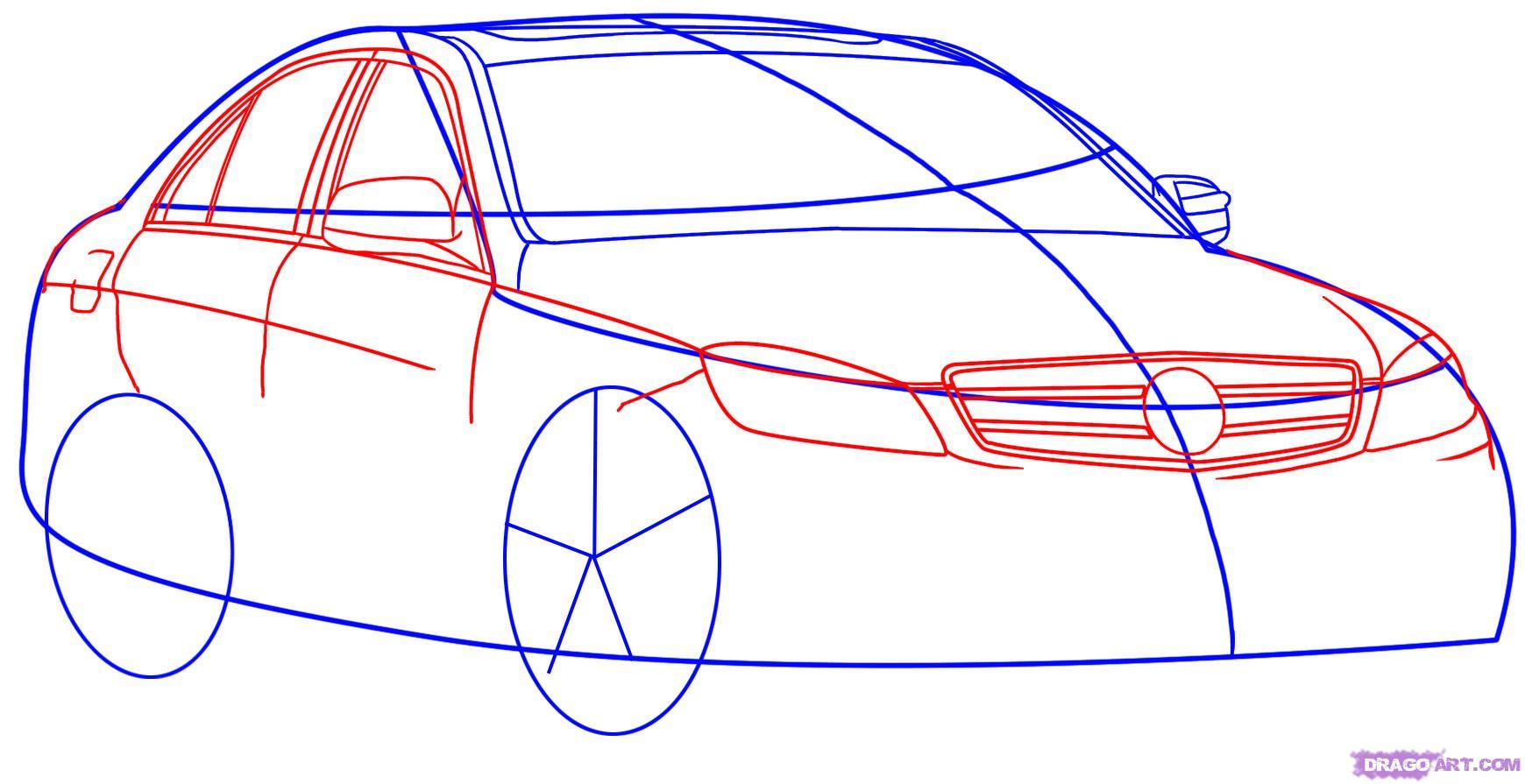 Рисуем автомобиль Mercedes-Benz - шаг 3