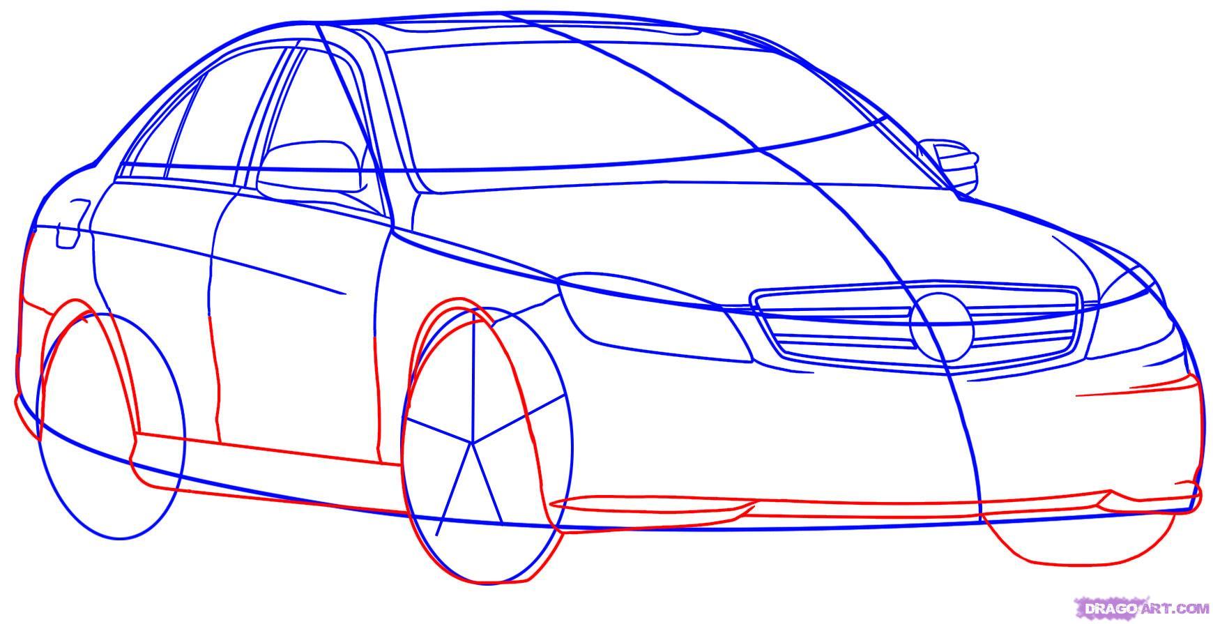 Рисуем автомобиль Mercedes-Benz - шаг 4
