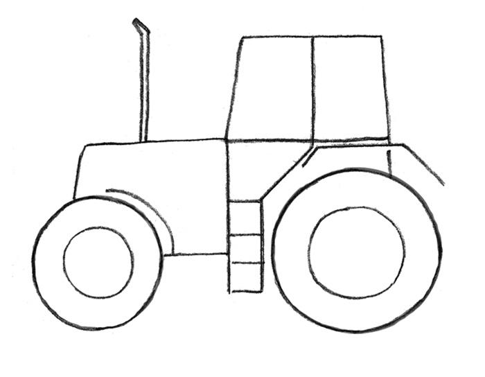 Как легко и просто нарисовать Трактор - шаг 2