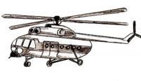 Учимся пошагово рисовать вертолет карандашом